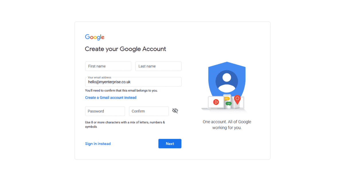 Google Account for your business email